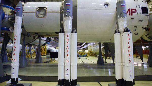 Модели ракет Ангара в ГКНПЦ имени Хруничева. Архивное фото