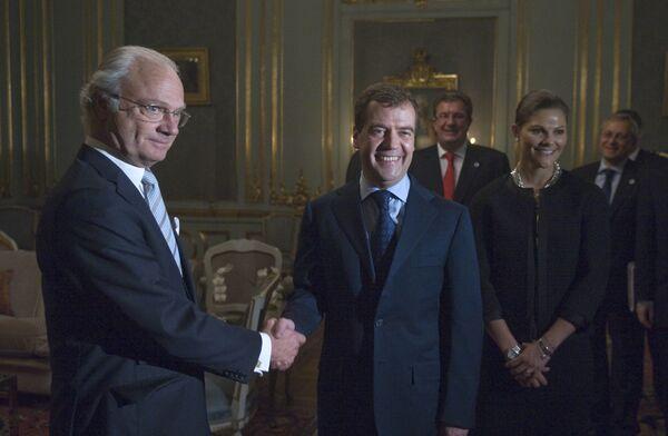 Президент РФ Д. Медведев на аудиенции у короля Швеции Карла XVI Густава