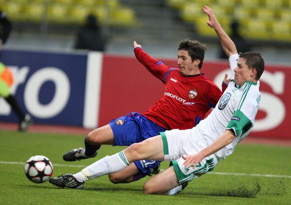 Игровой момент матча ЦСКА (Россия) - Вольфсбург (Германия)