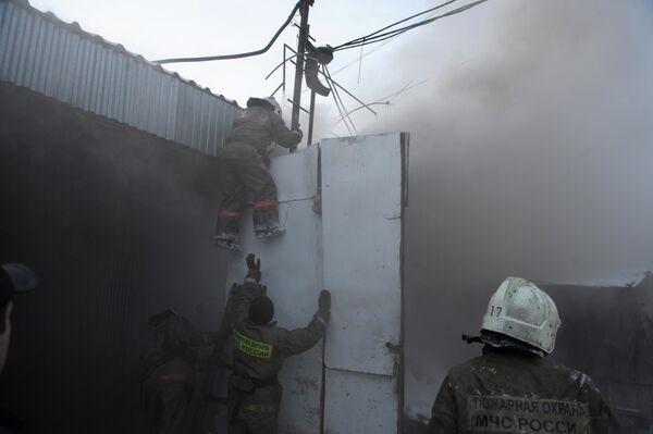 Пожар на Мытищинской ярмарке в Подмосковье
