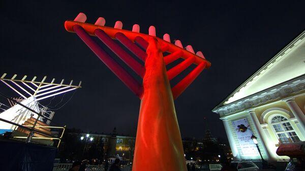 Торжества в честь еврейского праздника Ханука на Манежной площади
