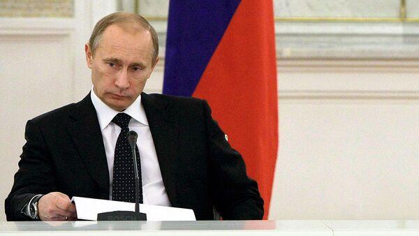 Председатель правительства РФ Владимир Путин на заседании Госсовета РФ в Кремле