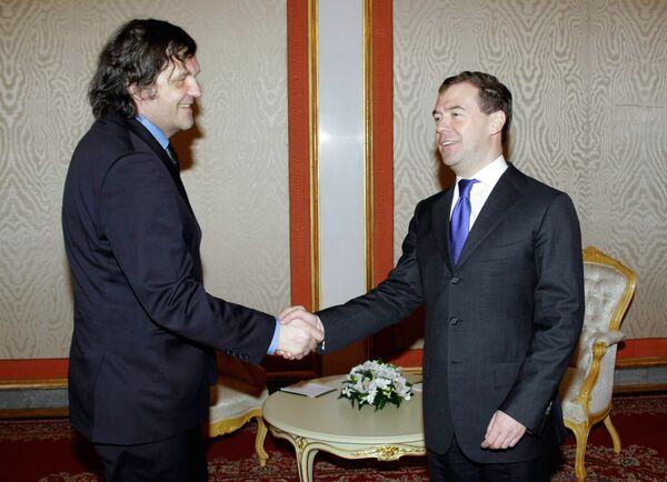 Встреча Дмитрия Медведева с Эмиром Кустурицей в Кремле