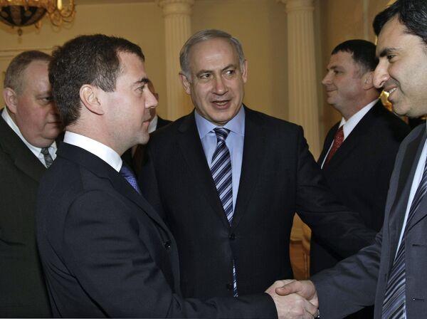 Президент РФ Дмитрий Медведев и премьер-министр Израиля Беньямин Нетаньяху