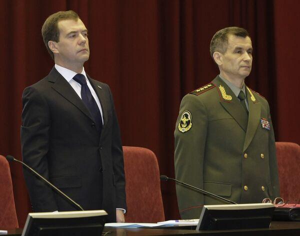 Президент РФ Дмитрий Медведев и министр внутренних дел РФ Рашид Нургалиев на заседании коллегии МВД РФ