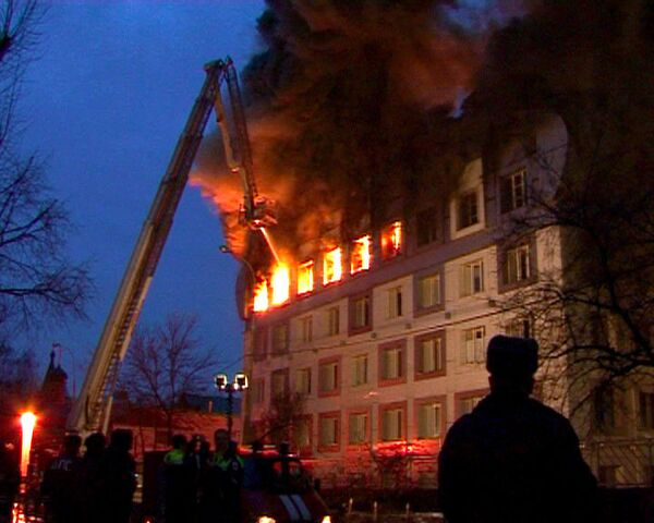 Пожар в бизнес-центре на севере Москвы. Видео с места событий