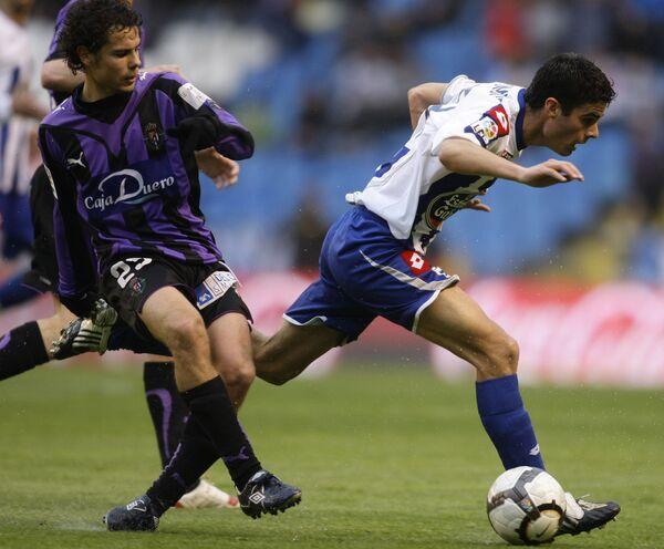 Игровой момент матча Депортиво - Вальядолид