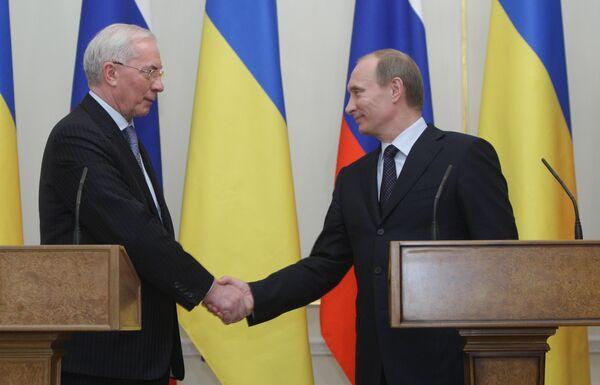 Встреча премьер-министров РФ и Украины В.Путина и Н.Азарова. Архив