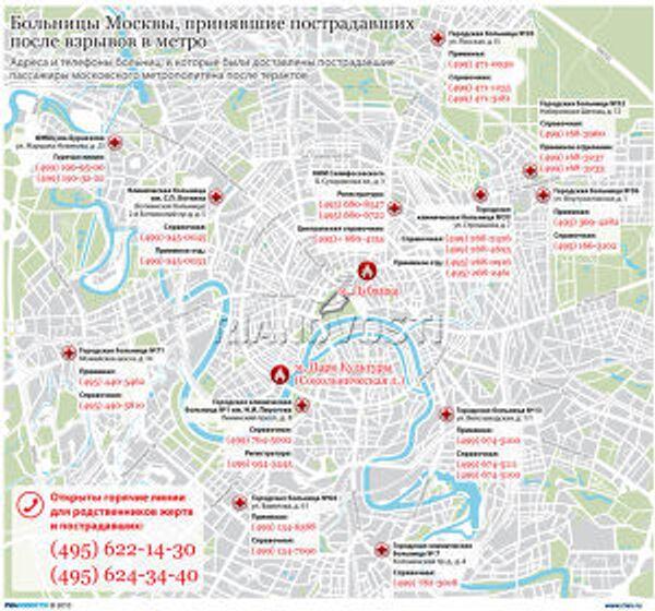 Больницы Москвы, принявшие пострадавших после взрывов в метро