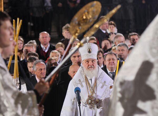 Крестный ход на пасхальном богослужении в храме Христа Спасителя