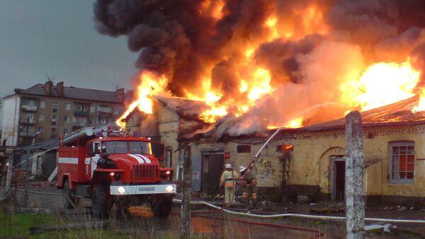 Пожар на военных складах во Владикавказе