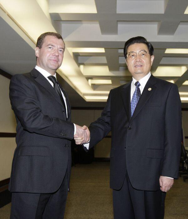 Президент РФ Дмитрий Медведев и председатель КНР Ху Цзиньтао
