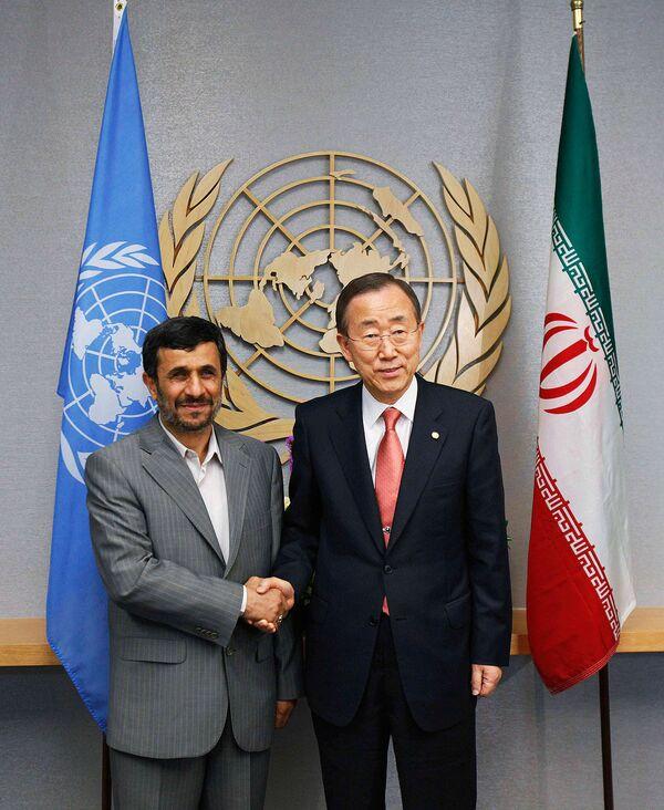 Махмуд Ахмадинежад и Пан Ги Мун