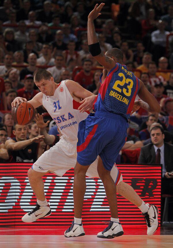 Игровой момент матча Барселона (Испания) – ЦСКА (Россия)