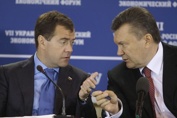 Встреча Дмитрия Медведева и Виктора Януковича с представителями деловых кругов России и Украины