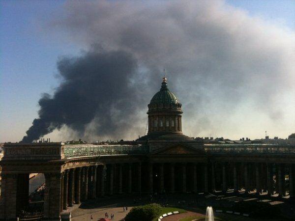 Пожар в центре Санкт-Петербурга.