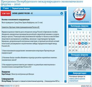 Программа Петербургского международного экономического форума-2010