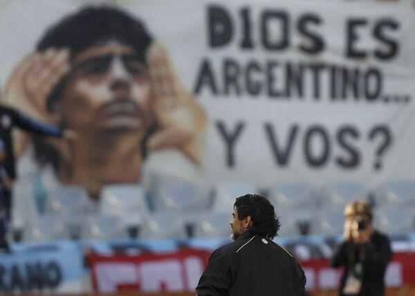 Главный тренер сборной Аргентины Диего Марадона перед началом матча против немцев на ЧМ