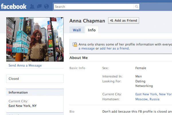 Страница Анны Чапман на сайте Facebook