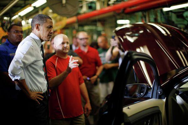 Обама на автосборочном заводе Ford в Чикаго