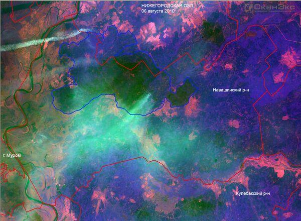 Лесные пожары в Нижегородской области. Вид из космоса