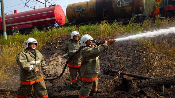 Тушение пожара с помощью пожарного поезда