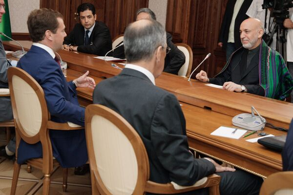 Президент РФ Дмитрий Медведев встретился с президентом Афганистана Хамидом Карзаем