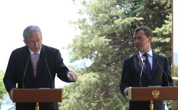Президент РФ Д.Медведев и премьер-министр Люксембурга Ж.К. Юнкер