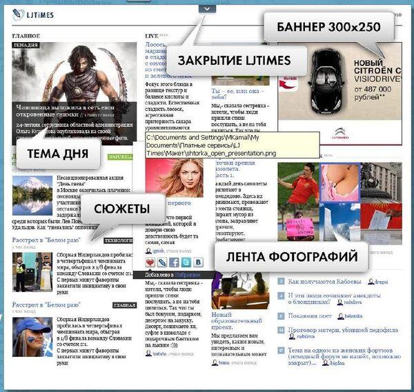 Интерфейс сервиса LiveJournal - LJTimes