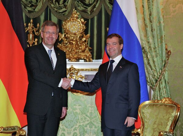 Президент РФ Д.Медведев принял в Кремле президента ФРГ К.Вульфа
