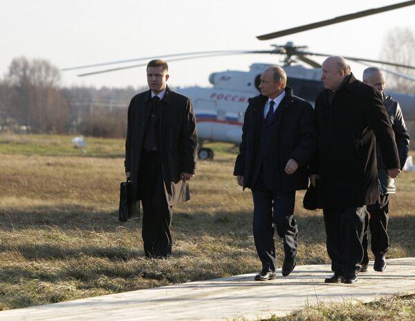 Премьер-министр РФ Владимир Путин посетил поселок Верхняя Верея