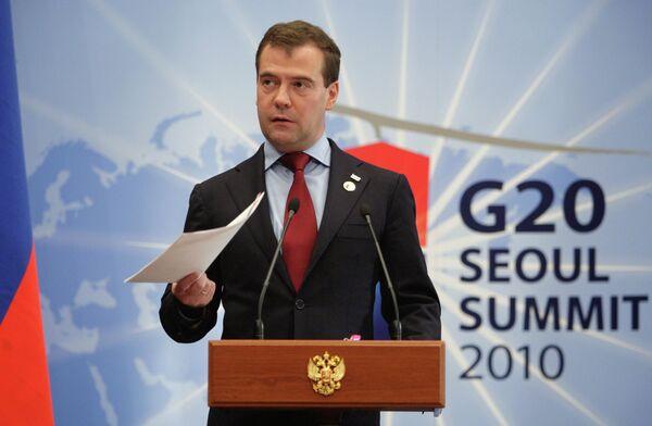 Президент РФ Д.Медведев на саммите G20 в Сеуле