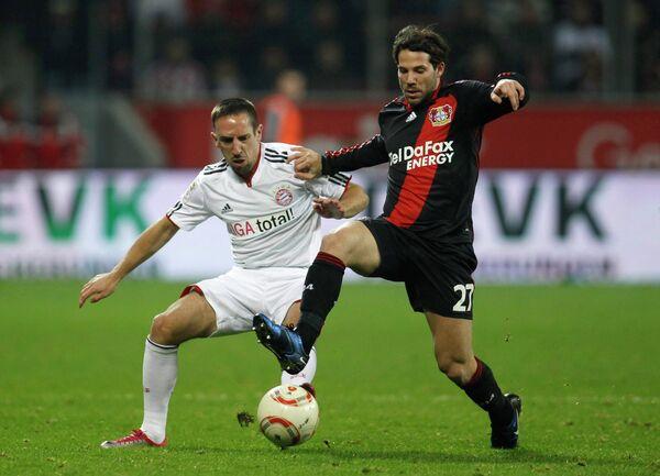 Игровой момент матча Байер - Бавария