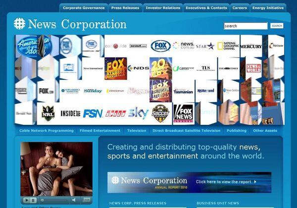 Скриншот сайта медиакорпорации News Corp.