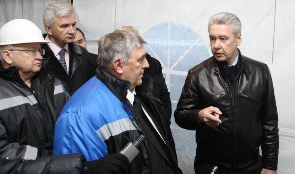 Сергей Собянин посещает строящуюся станцию метро Новокосино