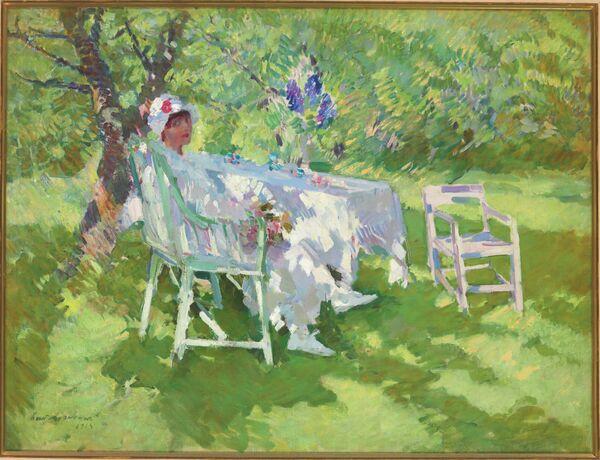 Константин Коровин. Девушка в белом, сидящая в саду