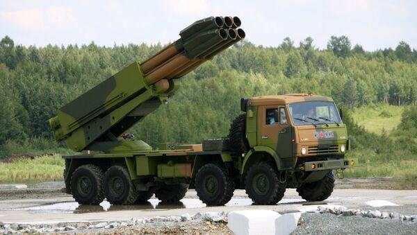 Боевая машина 9А52-4 РСЗО 9К58 Смерч. Архив