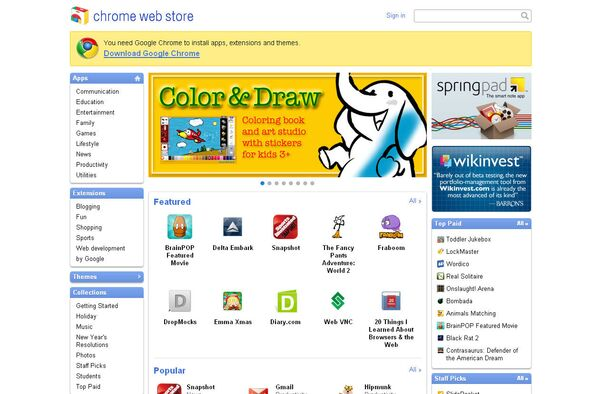Cкриншот Google Chrome Web Store