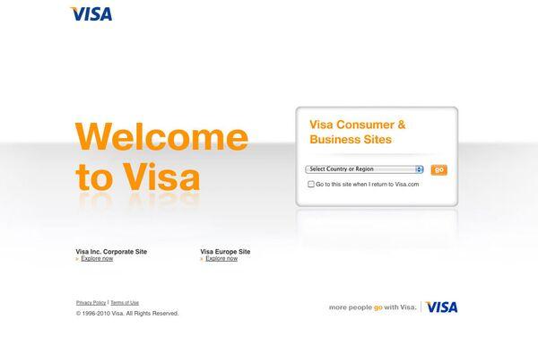 Скриншот страницы сайта www.visa.com