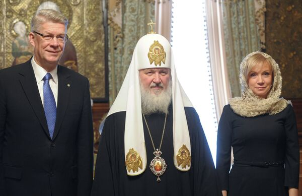 Встреча президента Латвии Валдиса Затлерса и патриарха Кирилла