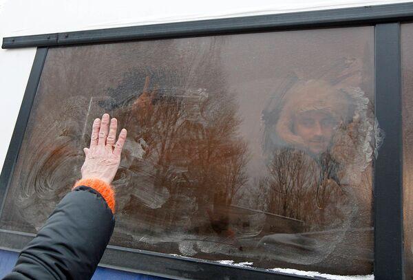 Автобус с задержанными демонстрантами в Минске