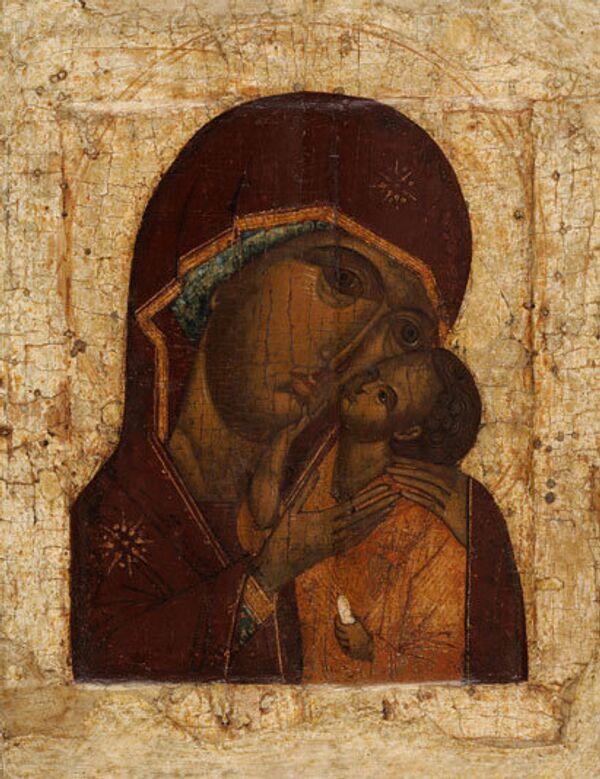 Икона «Богоматерь Умиление» Вторая четверть – середина XVI века. Москва