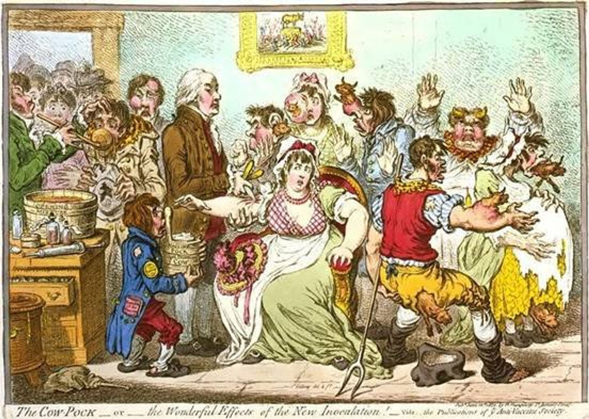 Британский художник Джеймс Джиллрей в 1802г. карикатурно изобразил сцену вакцинации в больнице Св. Панкратия - РИА Новости, 1920, 20.10.2020