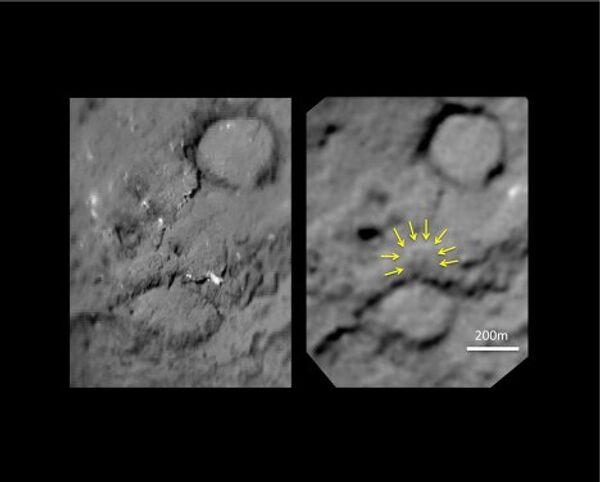 Поверхность ядра кометы Темпель-1 до и после удара с зонда Дип Импакт