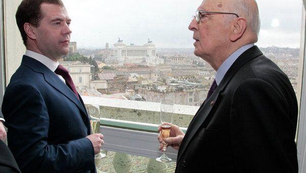 Президент РФ Дмитрий Медведев встретился с президентом Италии Джорджо Наполитано
