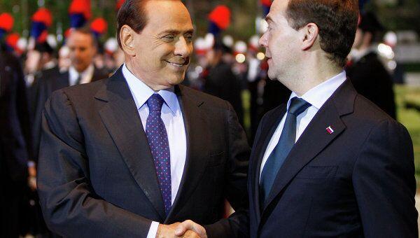 Дмитрий Медведев и Сильвио Берлускони на вилле Мадама
