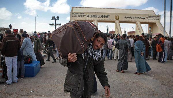 Беженцы на границе Ливии с Египтом