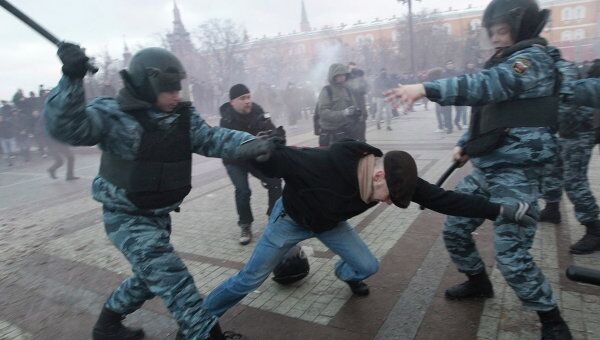 Акция на Манежной площади в память об убитом болельщике Спартака Егоре Свиридове