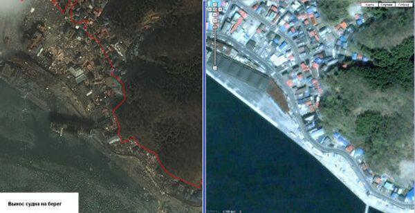 Спутниковая съемка последствий землетрясения в Японии