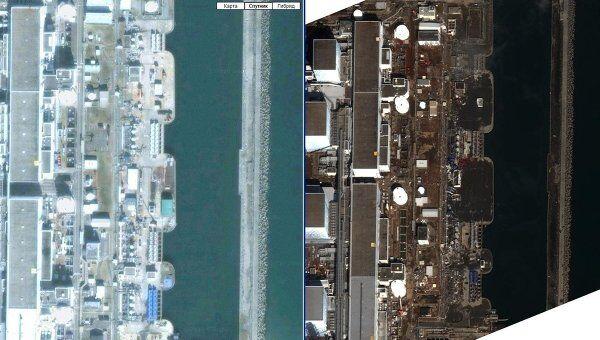Спутниковая съемка последствий землетрясения на АЭС Фукусима-1
